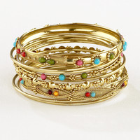 Gold Indian Beaded Bangle Bracelets, Set of 9 - World Market