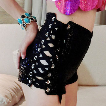 Black Side Lace Up Sequins High Waist Shorts
