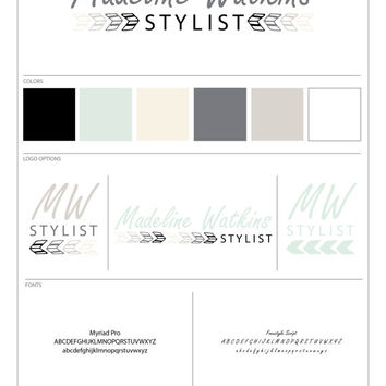 Pre-Made One of a Kind Ombre Arrows Branding Package Black Taupe Cream White Mint Slate Grey