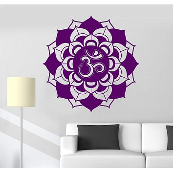 Vinyl Wall Decal Mandala Lotus Om Sanskrit Buddhism Yoga Meditation Stickers Unique Gift (ig3137)