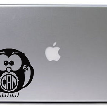 Owl Monogram Decal / Monogram Car Decal / Owl Laptop Sticker / Monogrammed Gift / Monogram Wall Decal / Monogram Macbook Decal