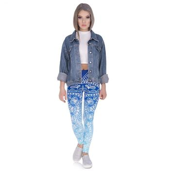 Blue Pattern Gradient Leggings