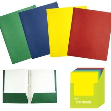 Twin Pocket 3-Prong Paper Portfolio Folders - CASE OF 48