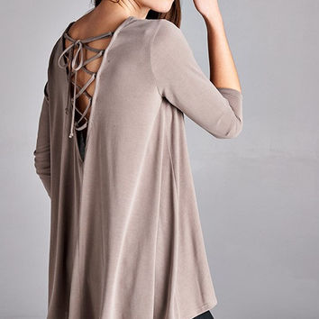 Silky Lace Up Back Knit Top in Mocha
