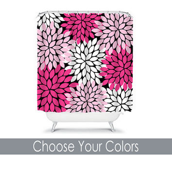 Shower Curtain CUSTOM You Choose Colors Black Hot Pink Flower Burst Dahlia Pattern Bathroom Bath Polyester Made in the USA