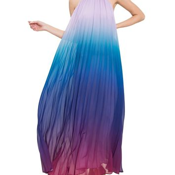 Ombré Pleated Trapeze Maxi Dress