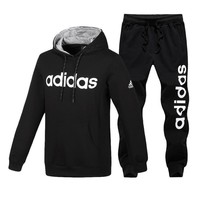 Adidas Fashion Casual Hooded Top Sweater Pullover Pants Trousers Set Two-Piece-2