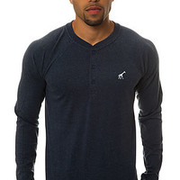 LRG Core Collection Raglan Henley in Navy Heather?