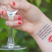 3 Bachelorette Tattoos - Bachelorette Party Temporary Tattoos - If I'm Lost, Please Buy Me A Drink - Red Lips