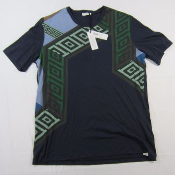Men's Versace Collection Geometric Print Navy Stampa Girocollo T-Shirt Sz XL NWT