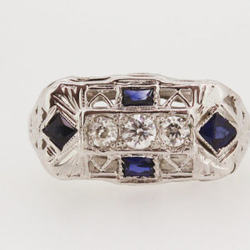 Art Deco Ring Vintage Engagement Ring Blue Sapphire Ring Antique Diamond Ring Edwardian Ring Gemstone Ring Filigree Ring Estate Ring Size 5