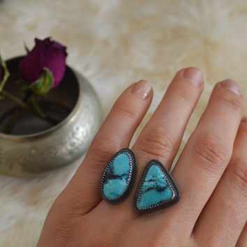 Natural Viking Mine Turquoise & Sterling Silver Ring / Split Style Ring / Blue and Black Stone / Boho Jewelry / Fits US Size 6 1/2