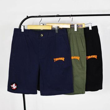 Casual Rinsed Denim Cotton Skateboard Shorts [211461701644]