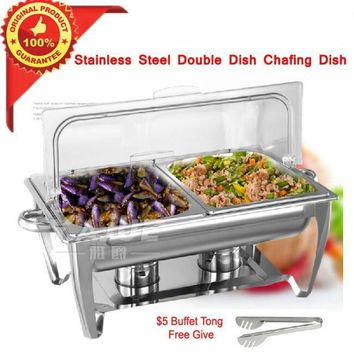 Hight Quality PC Flip Chafing Dish Double Dish Stainless Steel Buffet Dishes With Free Tong