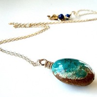 Blue Green Turquoise 14k Gold Filled Necklace by GlitzGlitter