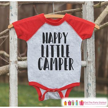 Kid's Happy Little Camper Outfit - Red Raglan Shirt, Onepiece - Kids Baseball Tee - Camp Shirt Baby, Toddler, Youth - Adventure Clothing