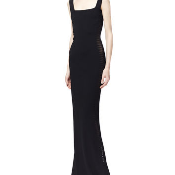 Women's Sheer Spine-Paneled Gown, Black - Alexander McQueen - Black