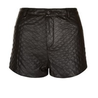 New Look Mobile | Parisian Black Quilted High Waisted Leather-Look Shorts