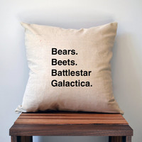 The Office Bears Beets Battlestar Galactica Pillow Cover, 18 x 18 Pillow Cover, The Office Pillow Cover, Dwight Shrute, Cyber Monday Sale