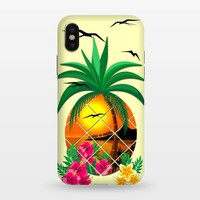 Pineapple Tropical Sunset, Palm Tree and Flowers - StrongFit iPhone X Cases | ArtsCase
