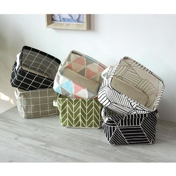 Fashion Geometric Style Linen Desk Storage Basket Holder Jewelry Stationery Office Organizer Case For Cosmetics #230509