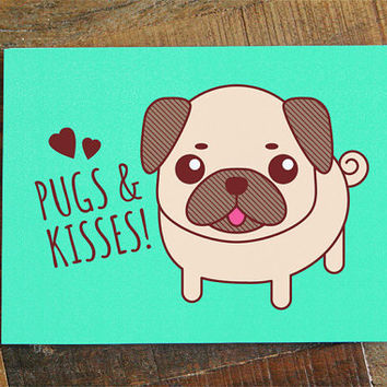 Image of: Couples Pugs Kisses Card Pug Art Card For Pug Lover Any Occasion Card Wanelo Tiny Bee Cards On Wanelo