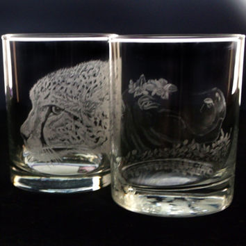 Safari double old fashioned whiskey glass, hand engraved set of two featuring a cheetah and hippo
