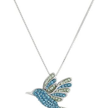 Sterling Silver Blue Mix Humming Bird with Swarovski Elements Pendant Necklace, 18""