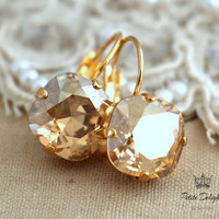 Topaz champagne Drop earrings Rhinestone Crystal bridesmaids gifts bridal earrings -Gold  plated Lever back earrings real swarovski Crystals