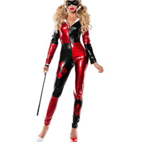 harley quinn costume women adult batman sexy cosplay bodysuit catsuit party halloween costumes for women supergirl Clown custom