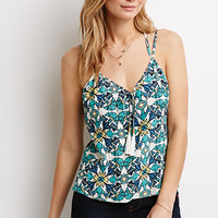 Abstract Floral Tasseled Cami