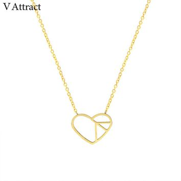 V Attract Stainless Steel Peace Symbol Heart Necklace 2017 Women Jewelry Gold Chain Collares Chocker Birthday Gift