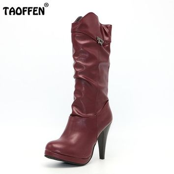 TAOFFEN Women Water Proof High Heel Mid Calf Boots Woman Round Toe Heels Shoes Good Quality Half Short Botas Feminina Size 32-46