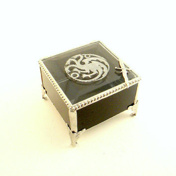 Game of Thrones Inspired Black Stained Glass Box, Engraved Targaryen Family Crest, Dragon, Gift for Him,  Geekery