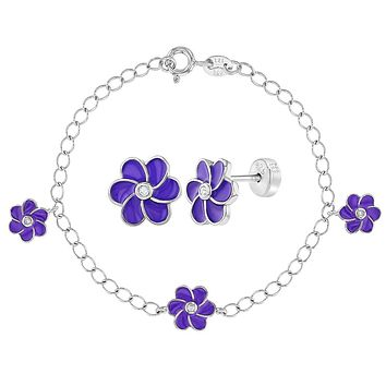 925 Sterling Silver Clear CZ Purple Flower Jewelry Set Bracelet Earrings Girls