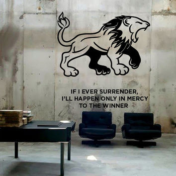 Wall Decor Vinyl Sticker Room Decal Lion Tiger Animal Cat Predator Africa Power Force Angry Fury Rage Word Phrase Winner (s225)