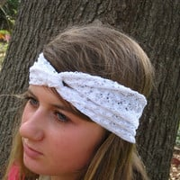 White Lace Stretch Headband / Wide Turband / by FashionablyLauren