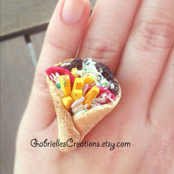Greek Gyros Ring - Pita - Traditional Greek Food Jewelry