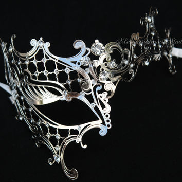 Silver Black Masquerade mask- Luxury Venetian Filigree Laser Cut Half face Phantom Mask for Women