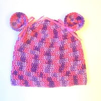 Toddler Girl  Purple And Pink  Hat  With Ears 2 To 5 Years Children  Clothing Fall  Beanie Baby Winter Cap