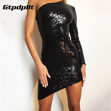 Gtpdpllt 2018 Summer Dress Women Sequins Sexy Mini Bodycon Dress One- Shoulder Red Party Dresses Women Black Dress vestidos