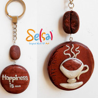 Happiness is Coffee - A Handmade key chain with a cup of coffee and a coffee bean - Handmade Polymer clay coffee bean - Selsal