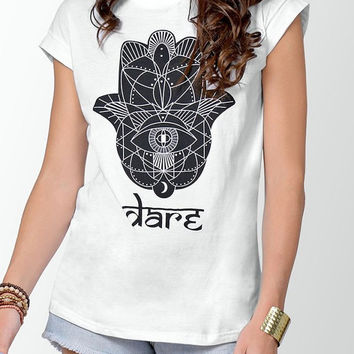 Yoga Top Hamsa T-Shirt Hand of Fatima Top White Workout Fitness Running Graphic Tee Zen T-Shirts Meditation Spiritual T-Shirt