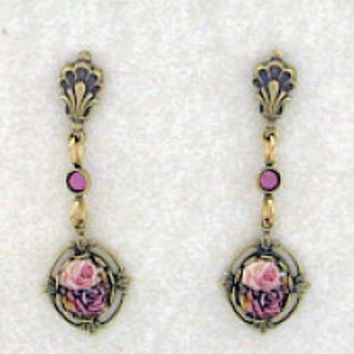Cameo Antique Rose Porcelain Drop Earrings in Leaf Frame