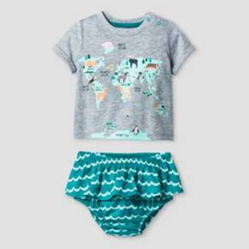 Baby Girls' World Map T-Shirt and Bloomer Set - Baby Cat & Jack™ Green