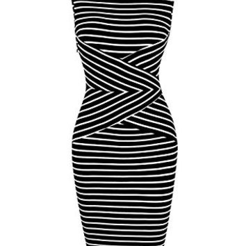 GloryStar Women 3/4 Sleeve Sleeveless Striped Business Pencil Dress Cocktail Party Dresses