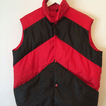 Vintage 70s JCPenney Black and Red Puffy Vest Size Medium