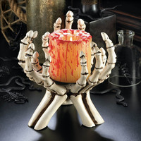Skeleton Hands Pillar Halloween Candle Holder
