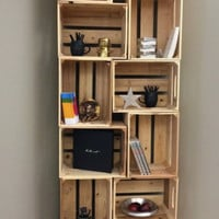 Standard, Rustic Wooden Apple Crate Box With Long Shelf (Vintage Style)