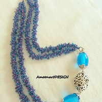 Blue beadwork necklace